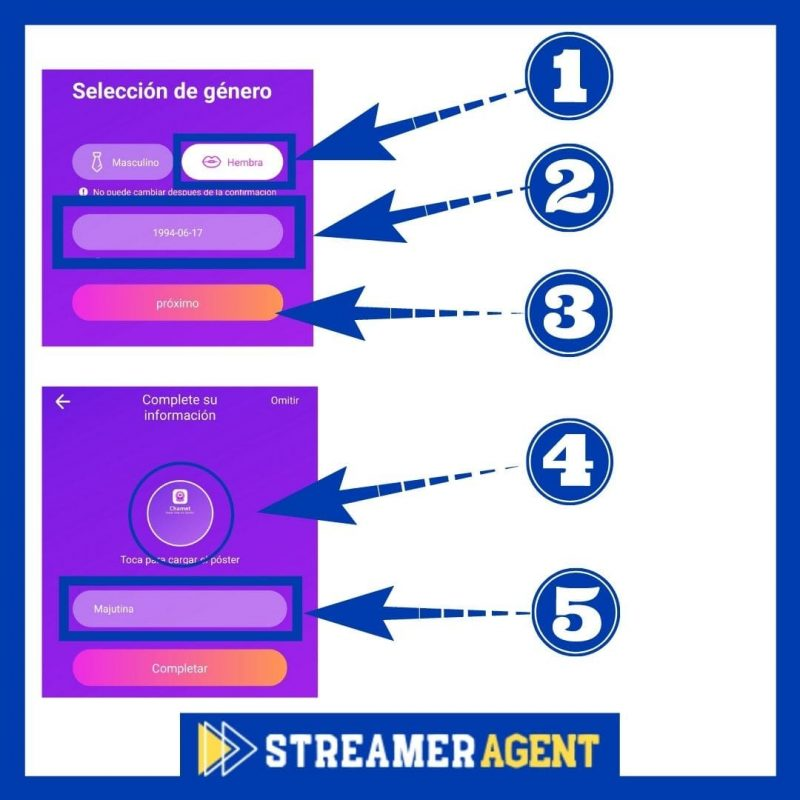 Configurar perfil en Chamet App - Streamer Agent