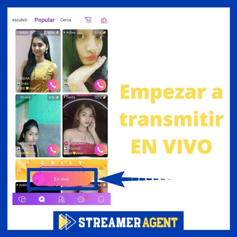 Empezar a transmitir en vivo en Chamet App - Streamer Agency