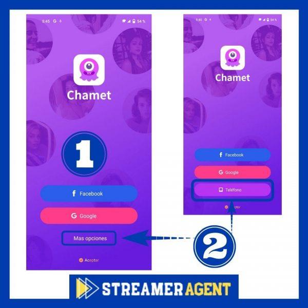 Iniciar sesion en Chamet App - Streamer Agente MaJu Agency