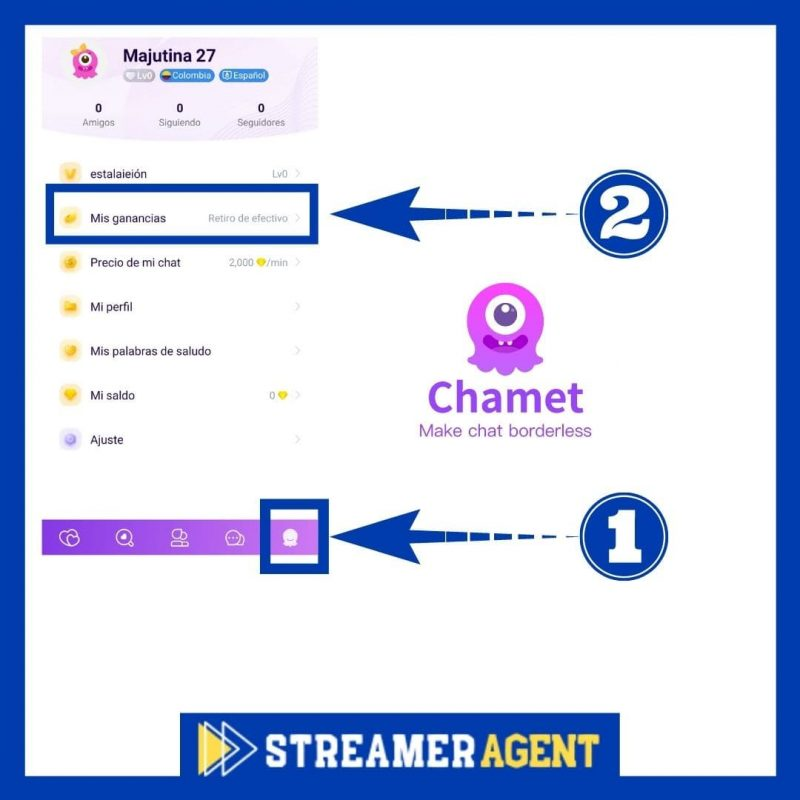 Mis ganancias Chamet App Streamer Agent
