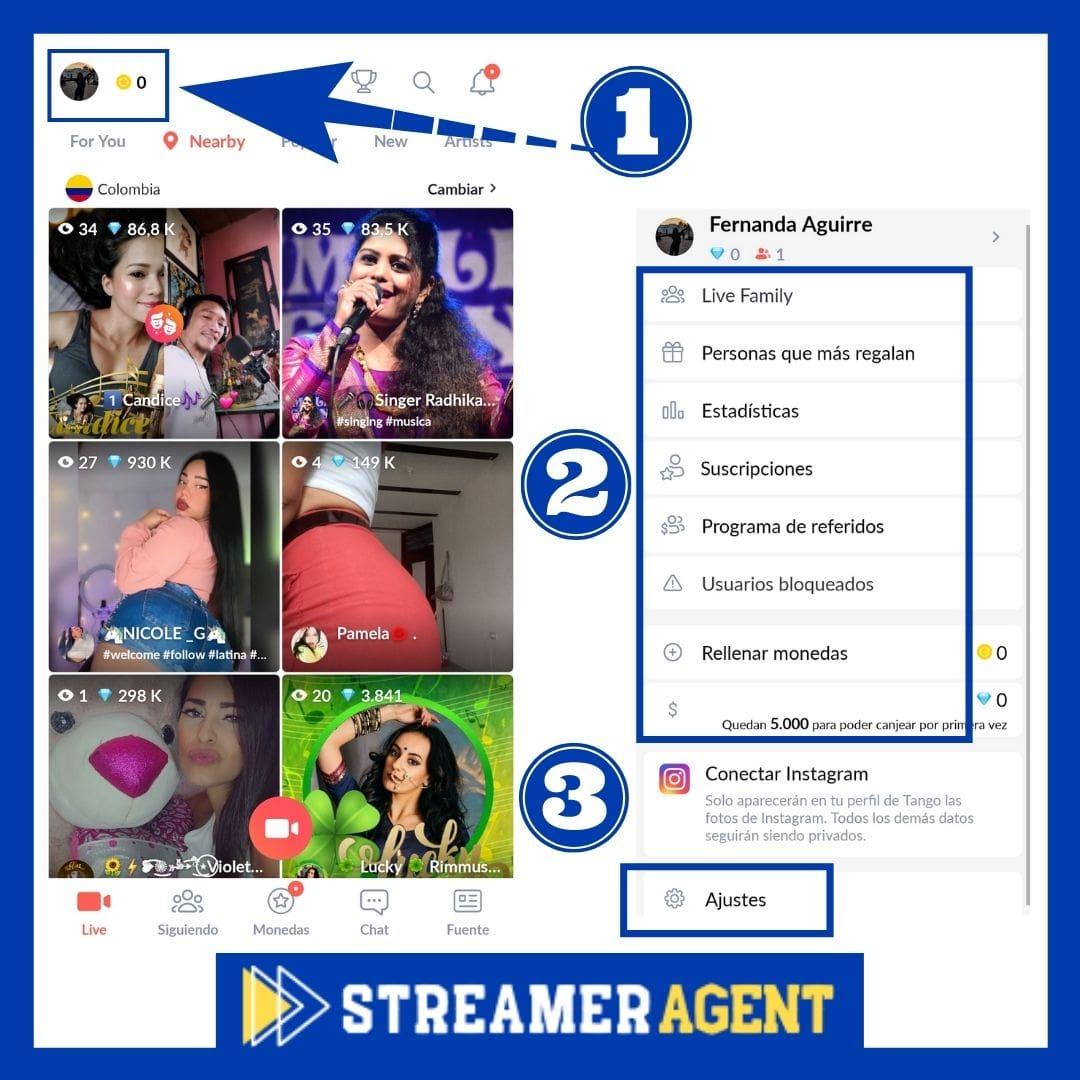 Editar perfil en Tango Live ajustes de Perfil
